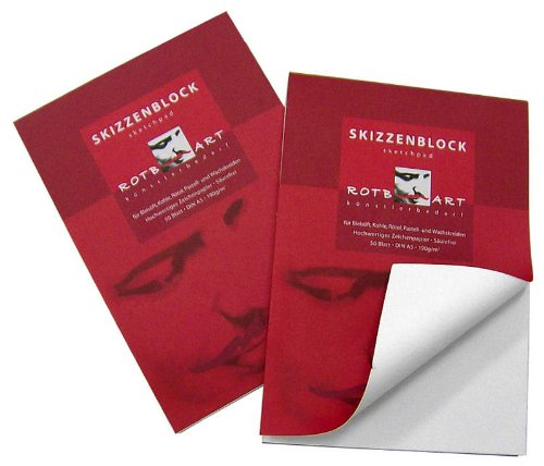 50 Blatt DIN A2 Skizzenblock / Skizzenpapier, Grammatur: 190g/m² - hellweißes Papier