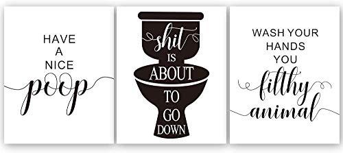 IARTTOP 3er Set Badezimmer Lustiges Sprüche Poster, Bild mit Spruch, Badezimmer Toilette Zitate - Deko Bild, Schwarz weiß Bilder, Wandbild für Bad WC, Wandkunst Home Decor, ohne Bilderrahmen,20×25CM