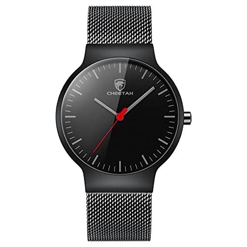 CHEETAH Mode Herrenuhren Ultradünne Mesh Edelstahl wasserdichte Uhr Unisex Minimalist Analog Quarz Armbanduhren (Schwarz rot)