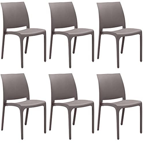 set di sedie poltrone da giardino in plastica design moderno (Brown, 6)