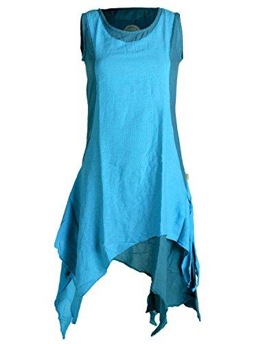 Vishes - Alternative Bekleidung - Ärmelloses Zipfeliges Lagenlook Kleid/Tunika aus handgewebter Baumwolle türkis 42