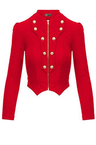 Women's Military Crop Stretch Gold Zip up Blazer Jacket KJK1125X RED 1X