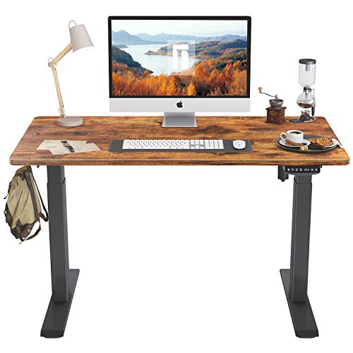 FEZIBO Height Adjustable Electric Standing Desk, 40 x 24 Inches Stand Up Table, Sit Stand Home Office Desk with Splice Board, Black Frame/Rustic Brown Top