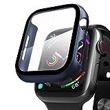 Compatibile con Apple Watch 42mm Series 3/2/1 Custodia+Protezione Schermo, Qianyou Case PC Protettiva in Vetro Temperato Integrata, Cover Pieno Ultra Sottile Paraurti e Screen Protector (Blu)