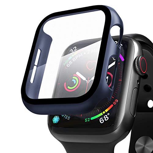Compatible con Apple Watch 42mm Serie 3/Serie 2/Serie 1 Funda + Cristal Templado, Qianyou PC Case y Vidrio Protector de Pantalla Integrados, Slim Cover de Bumper y Protector Pantalla(Azul)
