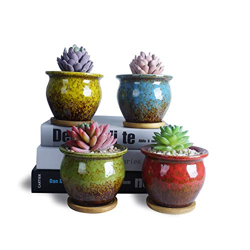 ARTKETTY Ceramic Succulent Pots, 4.5 Inch Round Glazed Cactus Planter Pots with Bamboo Tray and Drain Hole Modern Small Flower Pots Tiny Plant Containers Perfect for Desk or Windowsill Pack of 4