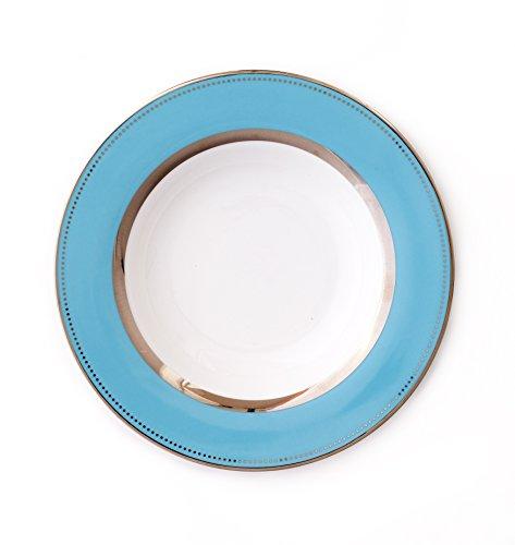 CRU by Darbie Angell Lauderdale Round Platter, Sea Blue/Platinum/White