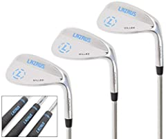 "FULL SET OF 3 GOLF WEDGES: 52 56 & 60 degree lofts. Right handed. Forged with milled face. 8, 12 & 10 Bounces. All skill levels! HANDS DOWN THE BEST QUALITY (FORGED): Lazrus golf wedges are made in the same place as some of today's ""top"" 52 56 and 60..."