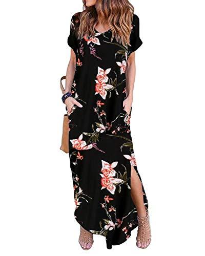 ZANZEA Damen Kleid Kurzarm Sommerkleid Rückenfrei T-Shirt Lange Kleider Sexy Freizeitkleid Schwarz&Rosa 2XL