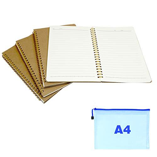 4 stück notizbuch A5 spirale notizblock, kraft cover ringbuch notizblock a5, notizheft a5, notizbücher a5, A4 plastik-Reißverschlusstasche, für notizen, sitzungsprotokolle usw.