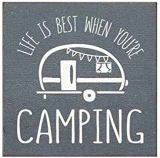 """Sawdust City Rustic Wooden Sign - """"Life is Best When You're Camping"""" Made from Solid Knotty Pine & Distressed Wood - White Stenciled Wall Art Room Decor - On Slate Grey Background"""