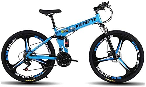 giyiohok Mountainbike 24 Zoll 3-Speichen-Räder Rahmen aus kohlenstoffhaltigem Stahl 21/24/27 Speed Dual Suspension Faltrad Unisex mit Scheibenbremsen-24 Geschwindigkeit_Blau