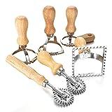 tellaLuna Ravioli Maker Cutter Stamp Set líder cortador de masa y sellos de prensa con mango de madera para ravioli, pasta, albóndigas 6 piezas