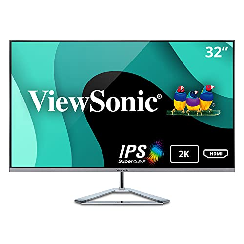 ViewSonic VX3276-2K-MHD 32 pollici WQHD IPS con 99% sRGB, 2xHDMI, DisplayPort, Mini DisplayPort, Eye Care per lavoro ed intrattenimento