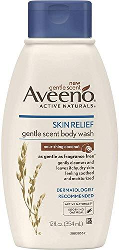 AVEENO Active Naturals Skin Relief Gentle Scent Body Wash, Nourishing Coconut 12 oz (Pack of 9)