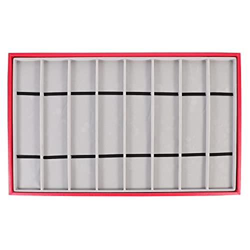 Abaodam Bandeja de Visualización de Reloj de 8 Ranuras de Cuero PU Soporte de Reloj de Pulsera Organizador de Joyas para Collar Pendientes Anillos de Pulseras Regalos de Cumpleaños Rojo