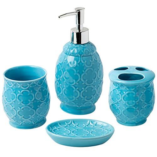 Comfify Bathroom Designer 4-Piece Ceramic Bath Accessory Set - Includes Liquid Soap or Lotion Dispenser w/Toothbrush Holder, Tumbler, Soap Dish - Moroccan Trellis - Bath Accessories Set