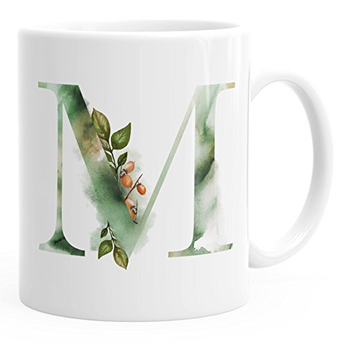 Autiga Buchstaben-Tasse M Tasse mit Buchstabe Alphabet Monogramm Watercolor gezeichnet Kaffeetasse weiß Unisize