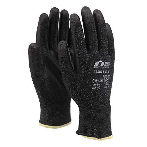 Soft Touch Basic Cut 3 Arbeitshandschuhe Schnittschutz Handschuhe Schwarz - Handschuhe mit Schnittschutz - 11 / XXL - 12 Paar