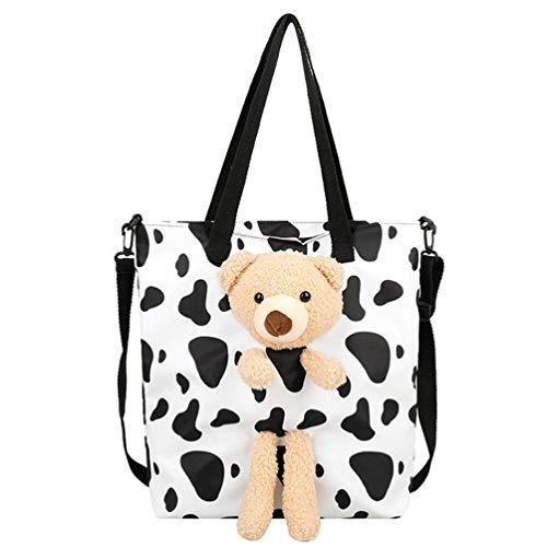 VALICLUD Bolso Cruzado de Lona Bolso de Hombro con Estampado de Vaca de Moda Bolso de Mano