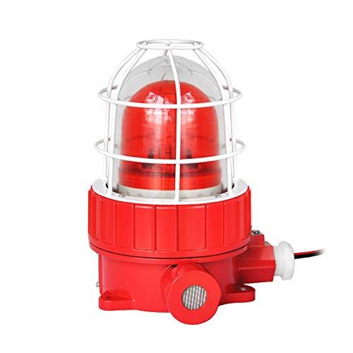 YJINGRUI Sirena Alarma a prueba de Explosiones Luz de Señal Estroboscópica con 110dB Alarma por Luz y Sonido Impermeable para Petróleo Química Gasolinera Laboratorio (220V, Control de dos señales)