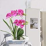 DWANCE Kunstblumen Schmetterling Orchidee im Topf Künstliche Blumen Deko Balkon Pflanze im Topf für Tischdeko Zimmer Balkon Garten Hochzeit Party Dekoration Lila - 3