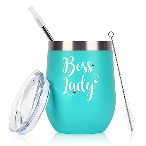 Lifecapido Boss Day Gifts for Women Boss Lady and Mom, Boss Lady Tumbler Gifts for Friend Female Manager Aunt Wife Girlfriend, 12 Oz Stainless Steel Insulated Wine Tumbler with Lid, Mint