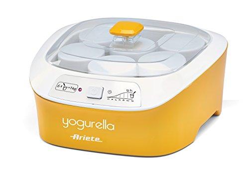 Ariete 626 Yogurella - Yogurtiera elettrica con 6 vasetti in vetro, Capacità totale 1kg di yogurt, 20W, Bianco/Giallo