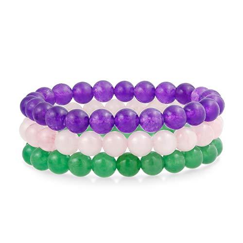 Bling Jewelry Conjunto de 3 teñido púrpura Amatista Rosa Rosa Cuarzo Verde aventurina 8mm Bola de Cuentas Piedras Estiramiento Pulsera para Mujeres Set