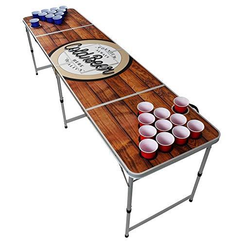 Original Premium Beer Pong Tisch - Wood - inkl. Eisfach, 6 Beer Pong Bälle & Becherhalterung (+ 50 Red & 50 Blue Cups)