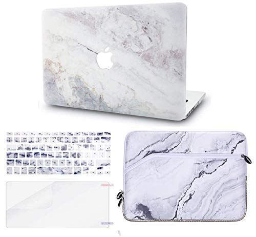 KECC MacBook Air 13 Pulgadas Funda Dura Case w/EU Cubierta Teclado + Lamina Protectora + Manga MacBook Air 13.3 Ultra Delgado Plástico {A1466/A1369}(Mármol Blanco 4)