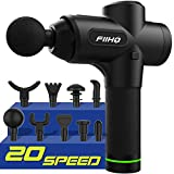 FIIHO Massage Gun Electric Portable Handheld Deep Tissue Percussion Massager 20 Speed 9 Heads Body Muscle Pain Relief Recovery Ultra Quite Brushless Motor