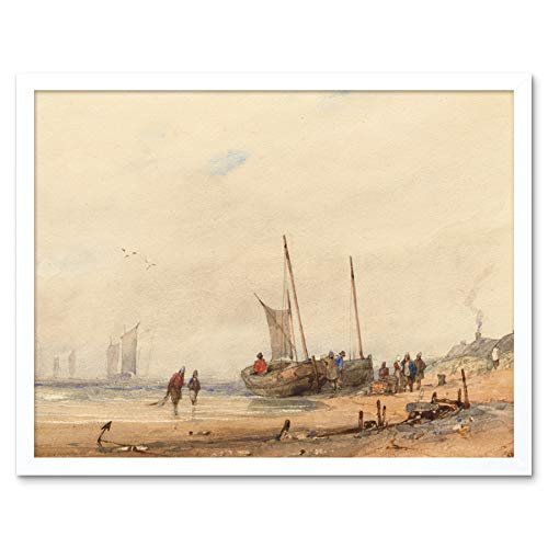 Bonington Coast with Beached Boats Figures 1823 Painting Art Print Framed Poster Wall Decor 12x16 inch K�ste Strand Boote Gem�lde Wand Deko