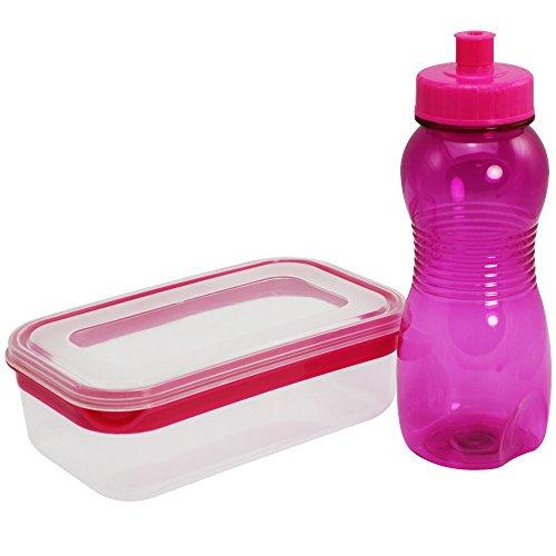 COM-FOUR® 2-delige set met lunchbox en drinkfles - box voor vers voedsel en een roze sportfles voor onderweg (02 stuks - lunchbox + drinkfles roze)