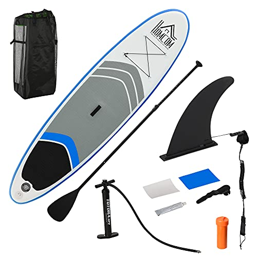 HOMCOM Aufblasbares Surfbrett Surfboard Stand Up Board mit Paddel rutschfest Inkl. Ausrüstung PVC Eva 305 x 80 x 15 cm