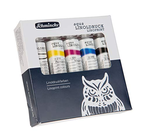 Schmincke - aqua-LINOLDRUCK, Linoldruckset mit 5 x 20 ml Tuben, 82 005 097, feinste Linoldruckfarben, konturenscharfer, gleichmäßiger Druck, brillante Farbtöne, beste Lichtechtheit