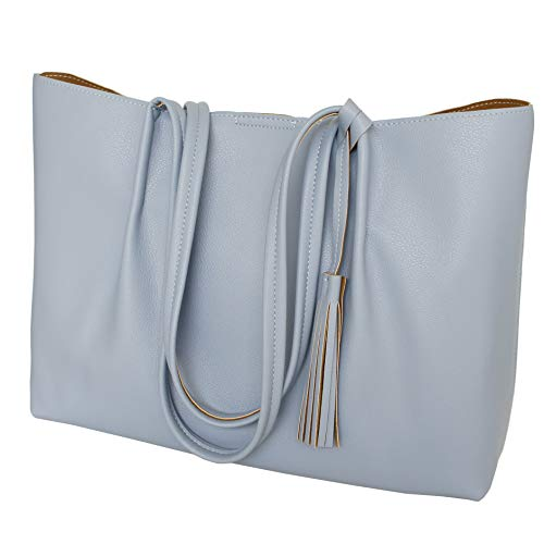 Tote Bag for women, Ladies Fashion Top Handle Handbags Soft Shoulder Bags Satchel Hobo Purse (Light Blue)