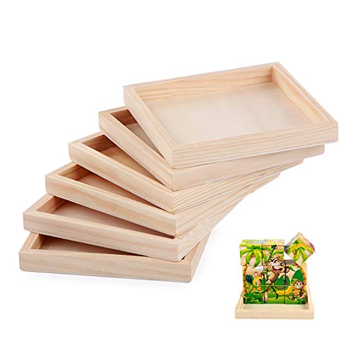 6 Pack Unfinished Small Wood Serving Tray for Crafts Projects DIY Wooden Trays Bulk Blank Wood Canvas Panel Boards Unfinished Wood Signs for Painting Arts Supply, (4.7 x 4.7 in)