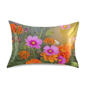 Satin Pillowcase Bedside Pillow Cases Silk Pillowcasecushion Throw Pillows Colorful Pink Cosmos Flowers Luxury Soft Pillow Covers Protectors Home Decorative with Envelope Opening for Adults