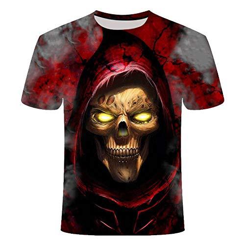 Camiseta Marea De Manga Corta 3D 3D Gold Skull Hugh para Hombre-T139_XXL