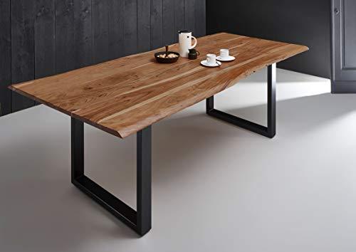 SAM Esszimmertisch 220x100 cm Quintana, echte Baumkante, naturfarben, massiver Esstisch aus Akazienholz, Metallbeine schwarz, Baumkantentisch