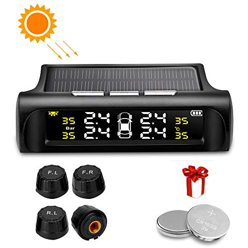 Jansite Reifendruckkontrollsystem Solar TPMS Kabellos Auto Reifendruck Kontrollsystem mit 4 Externen Sensoren 6 Alarmmodi Echtzeitanzeige Reifendrucktemperatur 0-62 PSI für das für Auto, SUV, KFZ