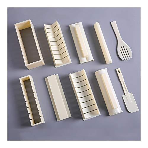 WWY 10 piezas conjunto del sushi Maker con 8 Formas y 2 espátulas, de la categoría alimenticia PP materiales, hogar de sushi Herramientas, fácil de hacer sushi, apto for principiantes y amantes del su