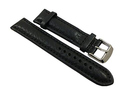 18mm Cuero de Becerro Pulsera de Reloj en Negro con Hebilla en Plata