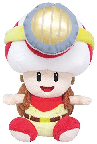 Sanei Super Mario Série Assis Pose Captain Toad en Peluche, 16,5 cm