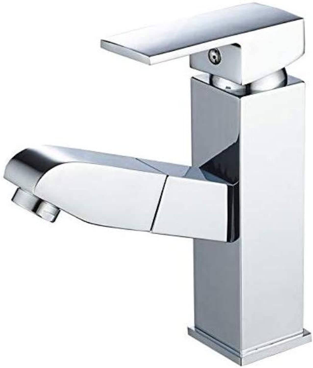 Copper Faucet Basin Pull Wash Head Hot and Cold Water Square Wash Basin Wash Basin Telescopic Head