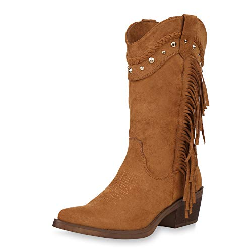 SCARPE VITA Damen Cowboystiefel Fransen Stiefel Western Schuhe Cowboy Boots Wildleder-Optik Westernstiefel Nieten Stickereien 187432 Hellbraun 39
