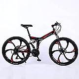 Bicicleta de Montaña, Bicicleta de Montaña Plegable para Adultos 26 Pulgadas 27 Velocidad Velocidad Variable Bicicleta de Carretera Ciclismo Fuera de la Carretera Bicicleta de Cola