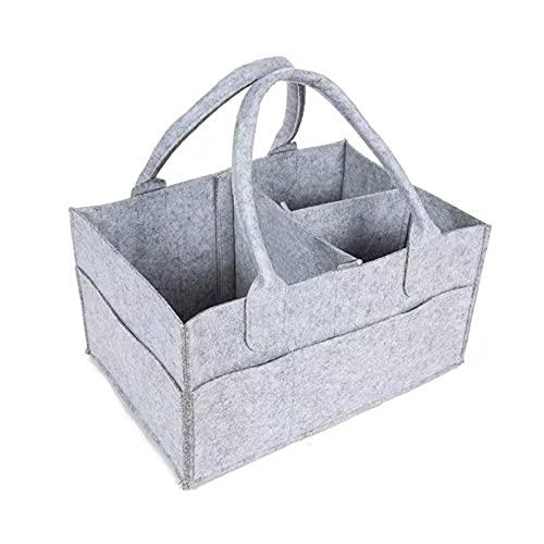 Duodo Bolsa de pañales para mamá de viaje, portátil, plegable, de fieltro, bolsa de almacenamiento para ropa infantil, para recién nacidos, para guardar pañales
