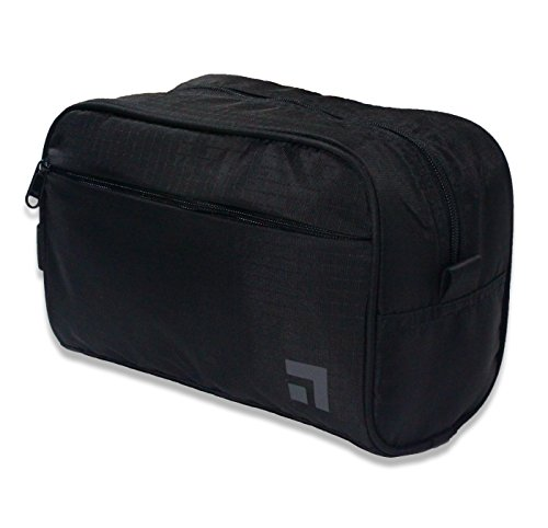 Slate Travel Waterproof Nylon Dopp Kit - Shaving Toiletry Bag Organizer (Black)